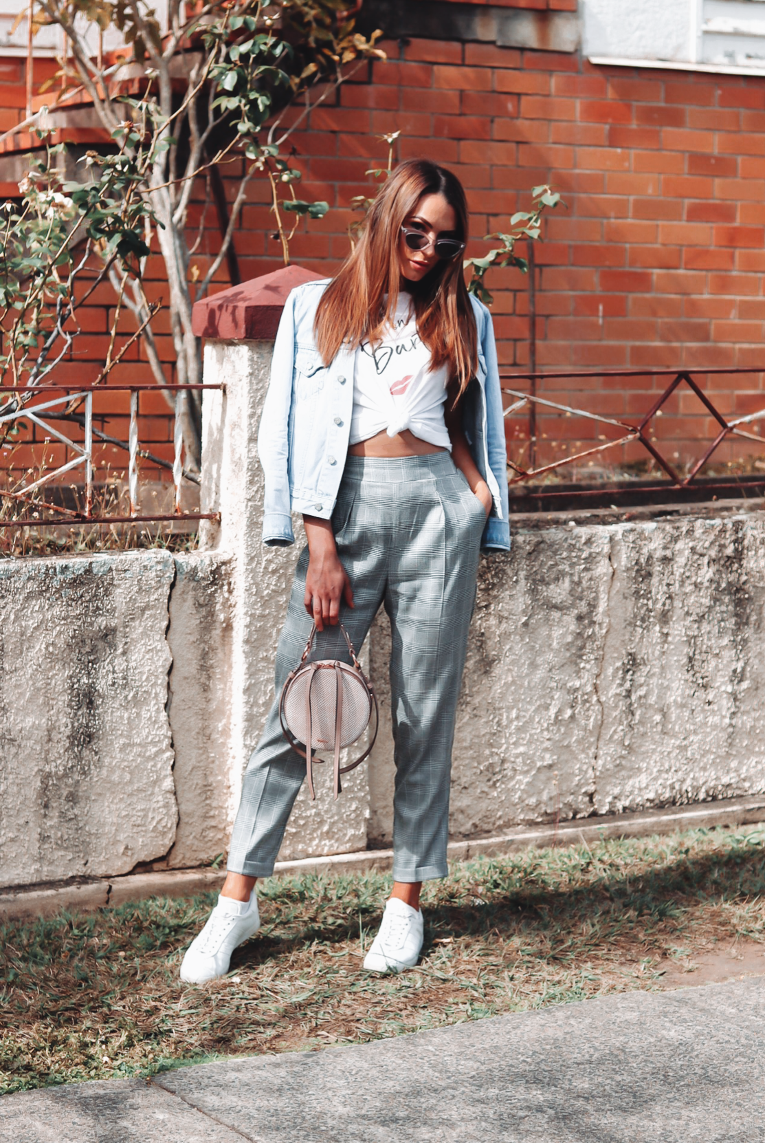 fashion, style, fashion idea, style ideas, denim, denim jacket, denim jacket inspo, fashion inspo, cat eye sunglasses, white tee, gingham pants, mimic bag