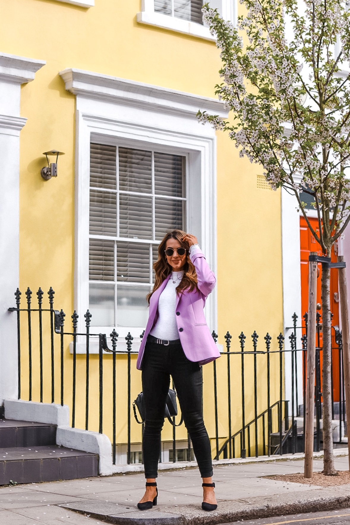 notting hill, london, visit london, blossom trees, french connection, fashion, blazer, jeans outfit
